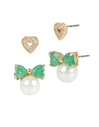 Betsey Johnson Heart And Bow Faux Pearl Two Piece Stud Earring Set Green