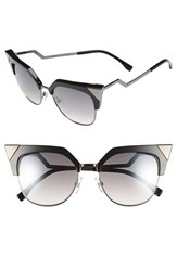 Women's Fendi 54Mm Metal Tipped Cat Eye Sunglasses Black Dark Ruthenium