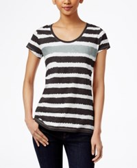 Styleandco. Style And Co. Striped Tee Only At Macy's Soft Black City Silver