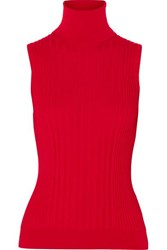 Maison Martin Margiela Ribbed Wool Turtleneck Top Red