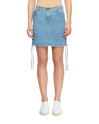 Stella Mccartney Side Lace Up A Line Mini Denim Skirt Light Blue