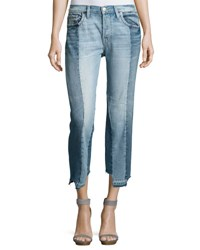 Frame Nouveau Le Mix Two Tone Boyfriend Jeans Remix Blue Pattern