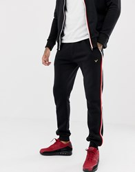 Voi Jeans Tracksuit Joggers With Contrast Piping Black