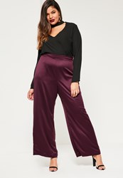 Missguided Plus Size Exclusive Purple Satin Wide Leg Trouser Plum