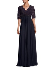 Rickie Freeman For Teri Jon Illusion Lace Midi Gown Navy