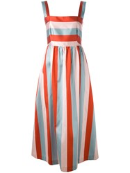 Red Valentino Block Striped Gown Red