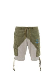 Greg Lauren Two Tone Cotton Jersey Cargo Shorts Green