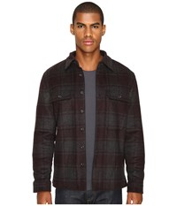 Vince Plaid Military Jacket Heather Charcoal Oxblood Men's Coat Black
