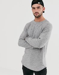 Only And Sons Knitted Jumper With Raglan Sleeve In Slub Cotton Grey