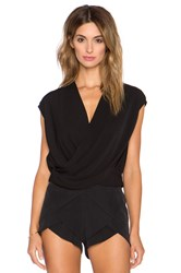 L'agence T Lee Criss Cross Cropped Blouse Black