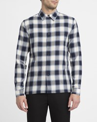 Sandro White And Blue Small Collar Checked Slim Fit Shirt