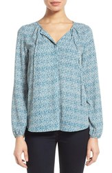 Women's Gibson Tie Neck Peasant Blouse Ivory Teal