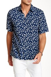 Toscano Feather Print Short Sleeve Shirt Blue