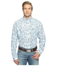 Ariat Bronson Print Shirt Sheltering Sky Men's Long Sleeve Button Up Blue