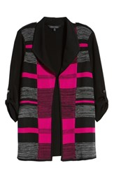 Ming Wang Colorblock Roll Tab Sleeve Knit Jacket Black Fireweed Stone Cliff