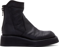 Ma Julius Black Leather Perforated Boots