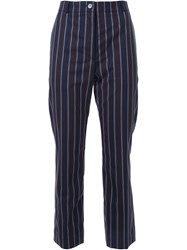 22 4 By Stephanie Hahn Pinstriped Cropped High Waisted Trousers Blue