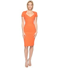 Zac Posen Bondage Jersey Short Sleeve Dress Orange Women's Dress
