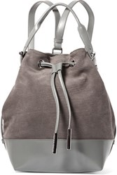 Opening Ceremony Izzy Lizard Effect Nubuck And Leather Backpack Gray