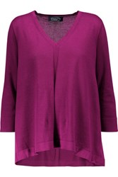 Magaschoni Pleated Cotton Sweater Magenta