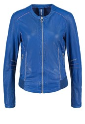 Freaky Nation Grace Leather Jacket Sea Blue