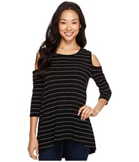 Vince Camuto 3 4 Sleeve Cold Shoulder Fine Line Stripe Top Rich Black Women's Clothing