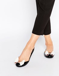 Ted Baker Faiyte Oversized Bow Ballet Flat Shoes Black And Cream