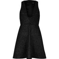 River Island Womens Sparkly Black Plunge Skater Dress