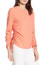 Halogen Cinched Sleeve Blouse Coral Ocean