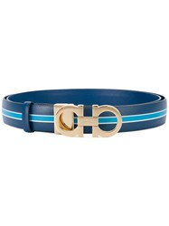 Salvatore Ferragamo Striped Detail Belt Women Leather 100 Blue