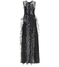 Huishan Zhang Feather Trimmed Silk Gown Black