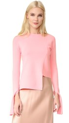 Tibi Asymmetrical Crew Neck Sweater Peony Pink