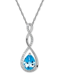 Macy's Birthstone And Diamond 1 10 Ct. T.W. Pendant Necklace In 14K White Or Yellow Gold Opal