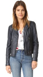 Rebecca Taylor Washed Leather Jacket Navy