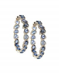 Diana M. Jewels 18K White Gold Sapphire And Diamond Hoop Earrings