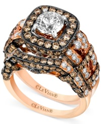 Le Vian Ring Set White Diamond 1 3 8 Ct. T.W. And Chocolate Diamond 2 1 5 Ct. T.W. Engagement Ring Set In 14K Rose Gold