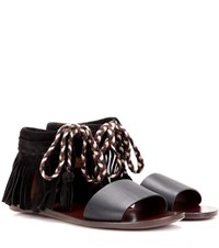 See By Chloe Fringed Leather Sandals Black