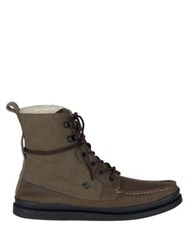 Sperry Moc Toe Canvas Lace Up Boots Brown