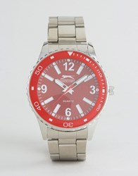 Slazenger Silver Watch With Red Dial Silver