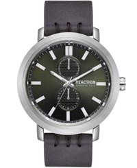 Kenneth Cole Reaction Gray Synthetic Leather Strap Watch 45Mm Black