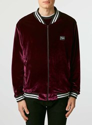 Topman Jaded Burgundy Velvet Bomber Red