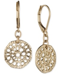 Lonna And Lilly Gold Tone Textured Disc Drop Earrings