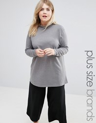 Junarose Funnel Neck Jersey Top Grey