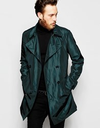 Asos Trench Coat In Two Tone Fabric In Emerald Green Green