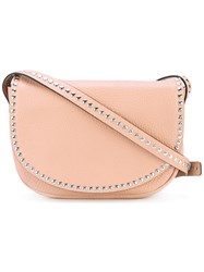 Red Valentino Flap Studded Crossbody Bag Women Calf Leather Metal One Size Pink Purple