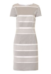 Betty Barclay Striped Satin Shift Dress Grey