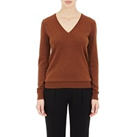 Barneys New York Cashmere V Neck Sweater Brown