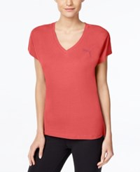 Puma Elevated Drycell V Neck T Shirt Pink Coral