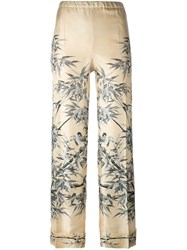 Philosophy Di Lorenzo Serafini Printed Straight Leg Trousers Nude And Neutrals