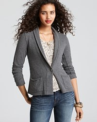 Aqua Cashmere Blazer Shawl Collar With Pockets Heather Grey